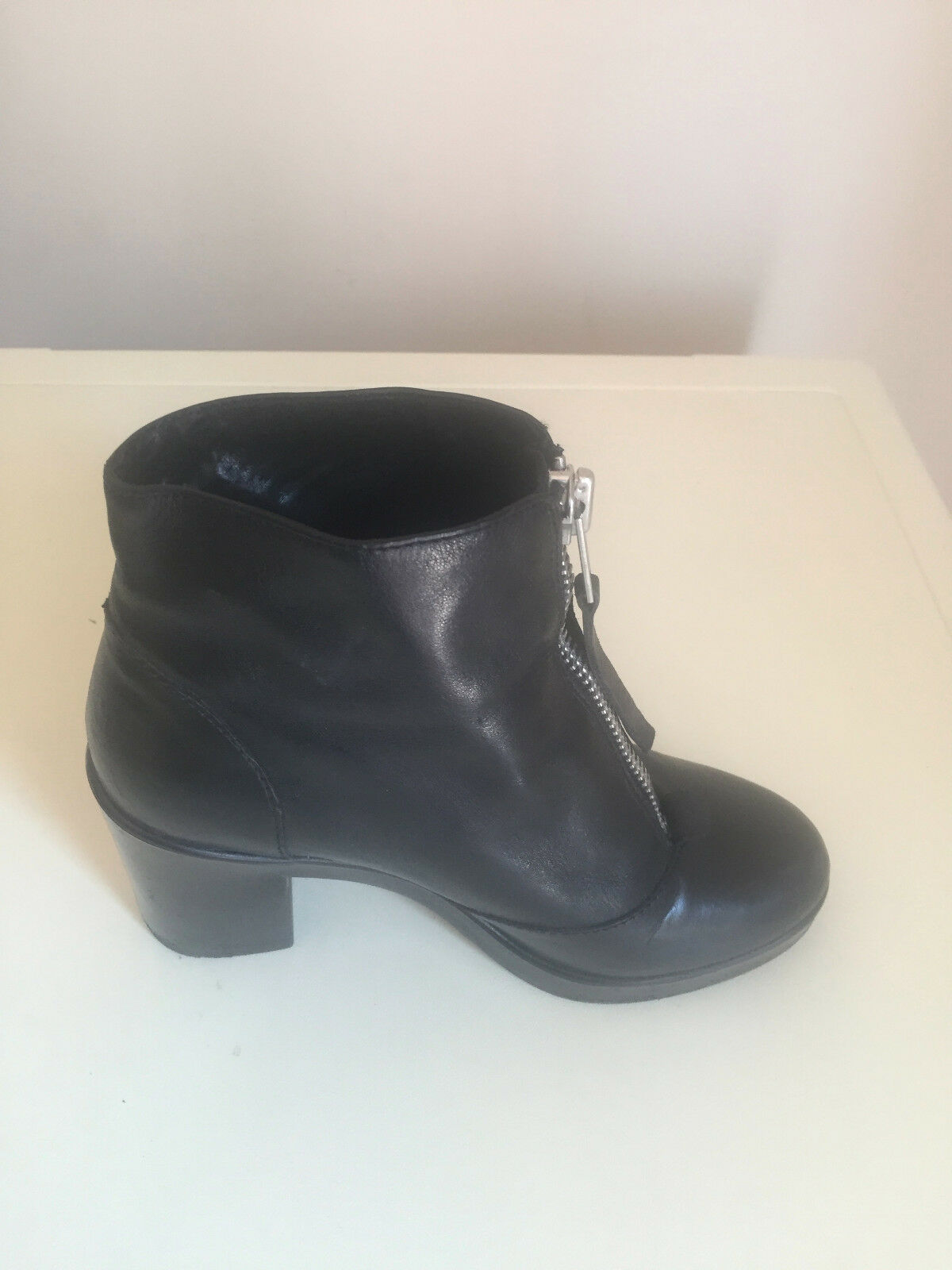 Donna TOPSHOP BLACK  ANKLE 36 LEATHER BOOTS SIZE UK 36 ANKLE 7b521f