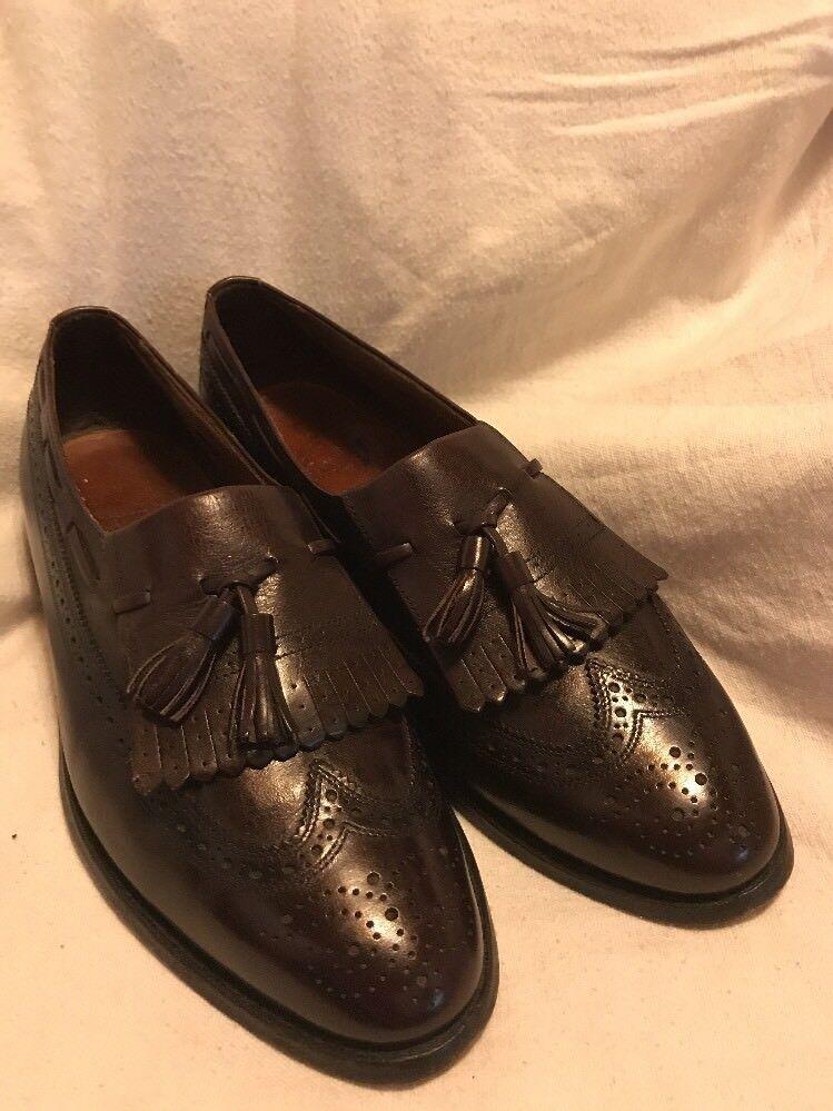 Allen Edmonds Arlington Kilted Tassel Loafers 9 Burgundy Leather Vintage Wingtip