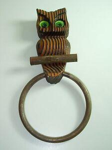 Vintage Green Mountain Handcrafted Wooden Owl TOWEL RACK HANGING WALL BATHROOM