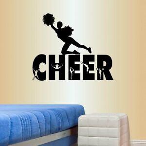 Details about Vinyl Decal Cheer Cheerleader Jumping Girl Teen Bedroom Wall  Sticker Decor 1801