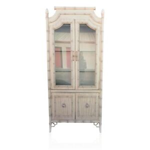... Vintage Faux Bamboo China Cabinet Fretwork Hutch Chippendale