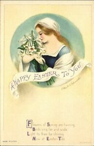 EASTER-woman-holding-lily-bouquet-poem-CLAPSADDLE-Wolf-Publ-c1910