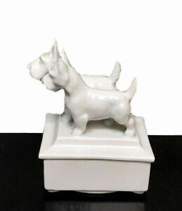 Rare Vtg White Porcelain Trinket Box with 2 Scottie Dog Standing on Lid, Germany