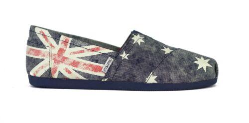JOY/&MARIO Women Blue Australia Flag Canvas Espadrille Flat Shoes World Cup Sale