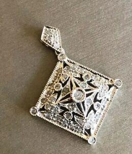 Art-Deco-Solid-9ct-White-Gold-Diamond-Square-Pendant-0-50ct-Hallmarked-Charm