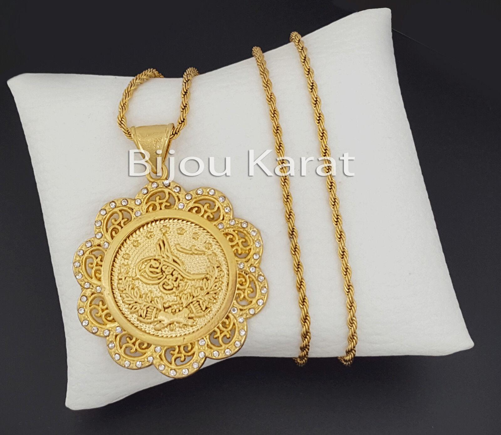 Osmanli Tugra gold Coin Chain 24 Karat GP Altin Kaplama Cumhuriyet altini Kolye