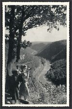 Pine Creek Gorge PA Two Women with Binoculars 1940s Silvercraft Postcard