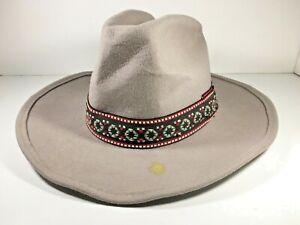 Vintage-Trail-Ridge-Cowboy-Western-Hat-Size-7-1-8-Tan-Gray-Native-American