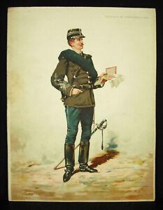 A-Legras-Captain-of-Bellboy-in-Feet-Chromolith-c1880-Uniform-Military-Xixth