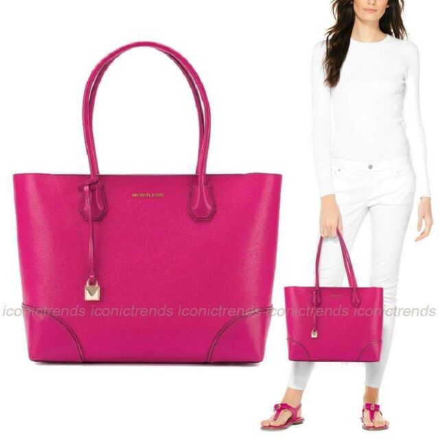 971cc0c122ef NWT 💕 Michael Kors Mercer Gallery Leather Medium EW Top Zip Tote Ultra Pink