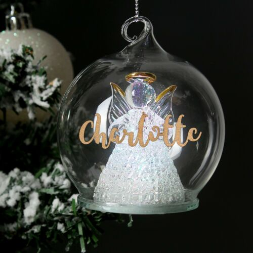 Personalised Glass Christmas LED Angel Bauble Colour Changing Christmas Tree