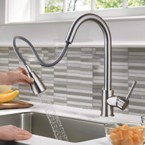 Pleasant Details About Brushed Nickel Pull Out Sprayer Kitchen Sink Faucet Single Level Stainless Steel Download Free Architecture Designs Terchretrmadebymaigaardcom