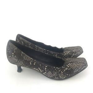 3085bc6da0f5 DONALD J PLINER Brown Snakeskin Square Toe Kitten Heel Pumps Heels ...