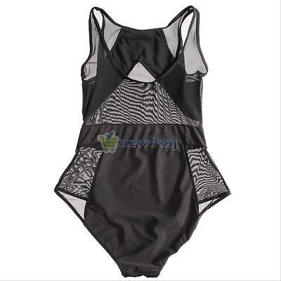 Black One-Piece Sexy Women Monokini Bikini Swimsuit Swimwear Bodysuit Mesh Sheer