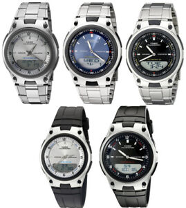 Casio-Men-039-s-Ana-Digi-Databank-10Yr-Battery-Stainless-Steel-Resin-Watch-AW80