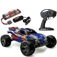 Traxxas 37076-3 Rustler Vxl Brushless Rtr Rc Truck W/tsm & Quick Charger Blue