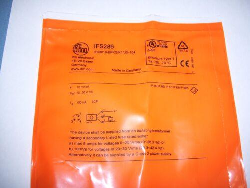 1 IFM Electronic Inductive Sensor IFS286 IFK3010-BPKG//K1//US-104