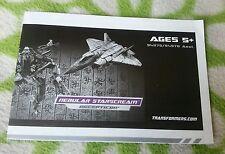 Transformers ROTF NEBULAR STARSCREAM INSTRUCTION BOOKLET ONLY