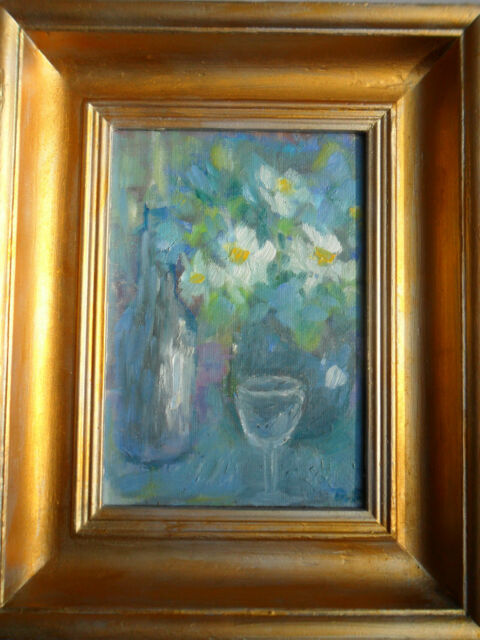 ROSINA FLOWER FINE ORIGINAL SIGNED OIL PAINTING STILL LIFE OF FLOWERS WITH GLASS