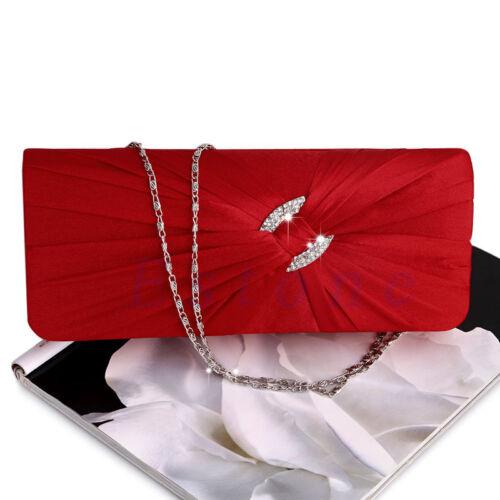 Women/'s Bling Rhinestone Bridal Shoulder Clutch Bag Chain Evening Handbag Purse