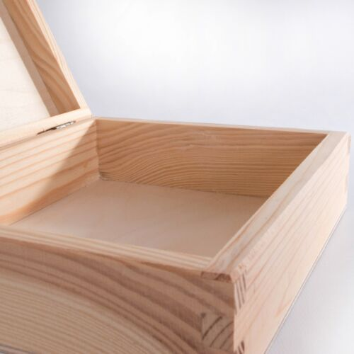 1//2//3x Wooden Plain CD Box Case Holder //Wood Unpainted Storage Boxes for Craft