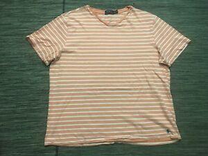 Polo-Ralph-Lauren-Mens-2XL-XXL-V-Neck-Tee-T-Shirt-Short-Sleeve-Striped-Peach