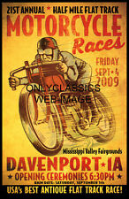 VINTAGE FLAT TRACK RACE MOTORCYCLE RACING POSTER INDIAN-MERKEL RACER ART GRAPHIC