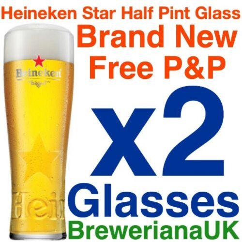 Set Of 2 Heineken Star Half Pint Glasses 10oz Brand New 100/% Genuine Official