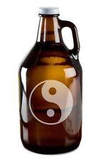 Yin Yang Symbol Hand Etched 64oz Beer Wine Growler