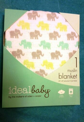 """Ideal Baby Muslin Blanket 3 Layer 42/"""" x 42/"""" New Sealed"""