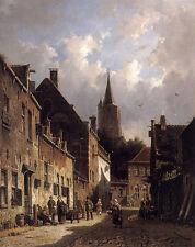 Eversen Adrianus A Dutch Street Scene A4 Print