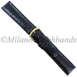 16mm-Gilden-Black-Luxury-Med-Padded-Stitched-Genuine-Lizard-Round-Edge-Mens-Band