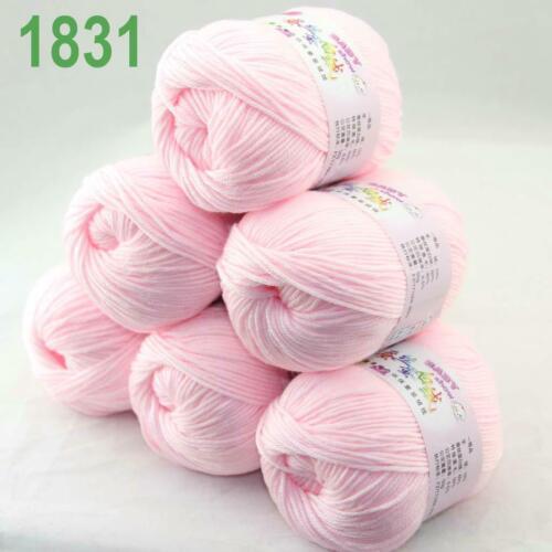 Sale 6x50gr Balls Soft Cashmere Silk wool Hand Knitting DK Baby Crochet Yarn 31