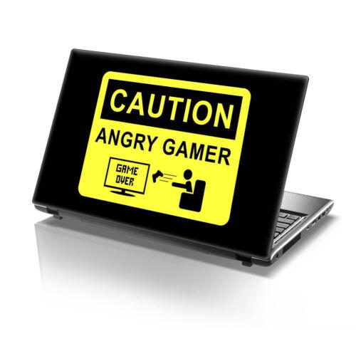 """TaylorHe 15.6/"""" Laptop Vinyl Skin Sticker Decal Warning Angry Gamer Slogan 2217"""
