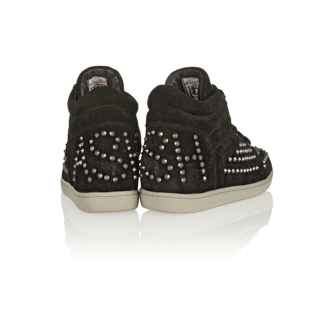 ASH ZEST Suede Sneakers, Black, Silver Studs Studs Studs Euro Size 35M CLEARANCE 935855