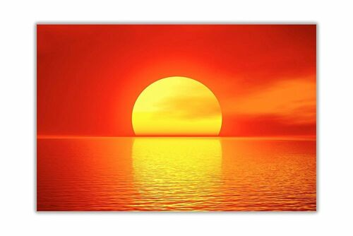 Sunset With Red Sun Landscape Poster Prints Wall Art Decoration Pictures