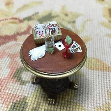 Pat Tyler Dollhouse Miniature Leather Bar Table Dressed W/Box Cards Drink Napkin