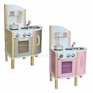 Image Is Loading Retro Corner Pink Or Grey Play Kitchen Wooden