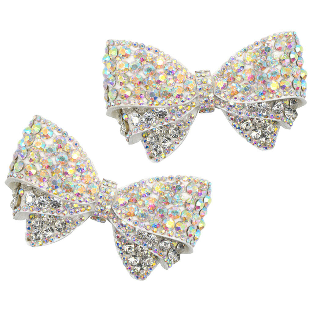2 Pcs Ladies Rhinestone Bow Shoe Charms Buckle Wedding Pointed Shoes Decoration