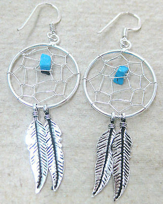 925 STERLING SILVER Hand made Dream Catcher & Turquoise Oxidised Feather Earring