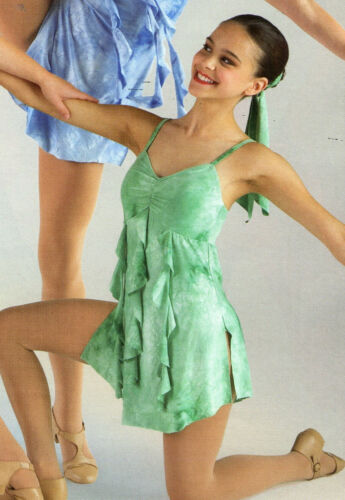 Lyrical dance costume tie dye tendril  Green or Cream Empire waist child sizes