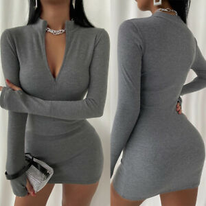 ❤️ Women's Sexy V Neck Bodycon Mini Dress Ladies Evening Cocktail Party Clubwear