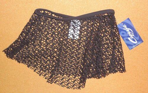 NWT CAPEZIO Ladies Pull On Jacquard Mesh Skirt Espresso Brown Gold Lurex Thread