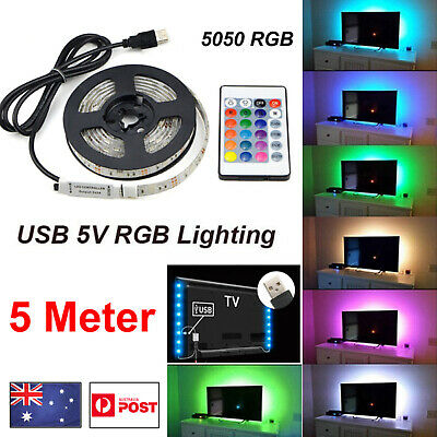 Remote Light 4M 5V 5050 USB LED Strip Lights TV Back Light RGB Colour Changing