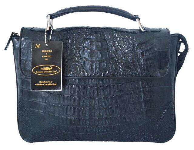 100 Hornback Genuine Crocodile Leather Handbag Shoulder Bag Tote Black New