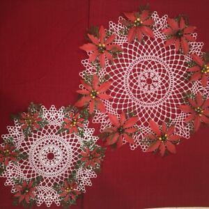Vintage-Mid-Century-Set-of-2-Plastic-Round-Lace-Christmas-Poinsettia-Doilies-EUC