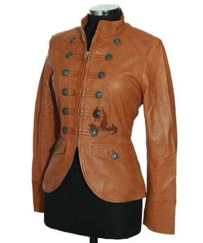 Tan Real Soft New Military Jacket Style Lambskin Short Leather Ladies Scarlet 5RYBwxngg