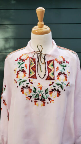 Vintage 1950s Hungarian Style Embroidered Blouse V