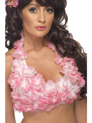 PINK//PURPLE LUAU FANCY DRESS ONE SIZE HULA FLOWERED HALTERNECK TOP HAWAIIAN