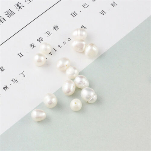 """Natural White Freshwater Pearl Nearly Round Gems Loose Beads Strand 14.5/"""" DIY A+"""